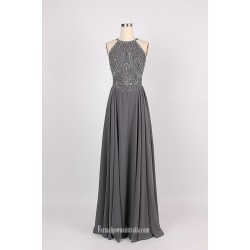 New Beading Floor Length Evening Dress Backless Spaghetti Straps Sleeveless Party Dress