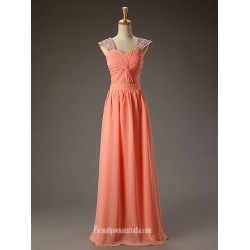 Simple Floor Length Orange Chiffon Prom Dresses Rhinestones Straps Sleeveless Evening Dress