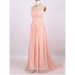 Elegant Floor-Length Pink Chiffon Evening Dress Zipper Back Party Dress With Beading