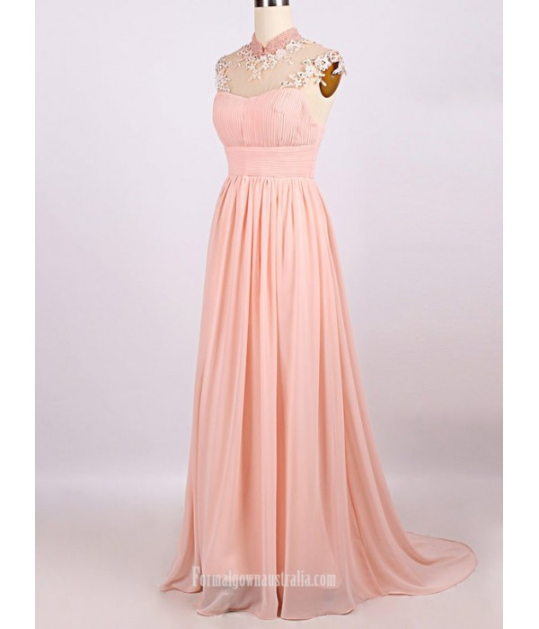 Elegant Floor-Length Pink Chiffon Evening Dress Zipper Back Party Dress With Beading New Arrival