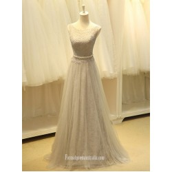 Formal Long Tulle Grey Lace Dresses  A Line Zipper Simple Dress with belt
