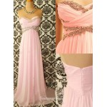 Elegant Floor-Length Chiffon Prom Dress Zipper Back Strapless Sleeveless Party Dress With Beading New Arrival