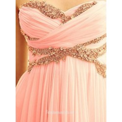 Elegant Floor Length Chiffon Prom Dress Zipper Back Strapless Sleeveless Party Dress With Beading