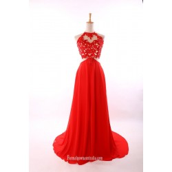 Sexy Red A-Line  Chiffon Party Dress Halter Lace Open Back Prom Dresses