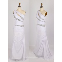 Elegant Floor-Length Chiffon Bridesmaid Dress Zipper Back One Shoulder Sleeveless Formal Dress With Sequins