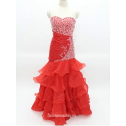 Elegant Floor-Length Red Mermaid Strapless With Beading Prom Dress