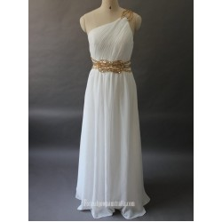 Elegant Long White Chiffon Evening Dress One Shoulder Sleveless With Beading Formal Dress