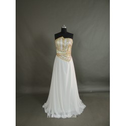 Elegant Flooe Length White Chiffon Prom Dress Zipper Back Strapless Beaging Formal Dress