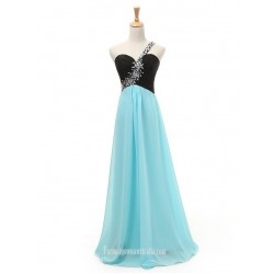 Beading One-shoulder Long Chiffon Prom Dresses with lack Top Blue Chiffon Prom Dresses