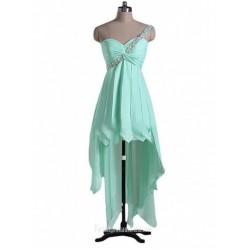 Mint Green Short Cocktail Dresses One Shoulder Crystal Evening Dress Short Front Long Back Chiffon Dress