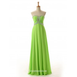 Simple Floor Length Chiffon Zipper Back Strapless Prom Dress With Beading