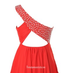 Simple Knee Length One Shoulder Beading Red Party Dresses Evening Dress