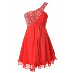 Simple Knee Length One-shoulder Beading Red Party Dresses/Evening Dress New Arrival