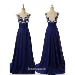 Floor Length Royal Blue Applique Chiffon Prom Dresses Evening Dresses