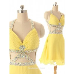 Sexy Short Yellow Criss Cross Straps Evening Dress With Beading