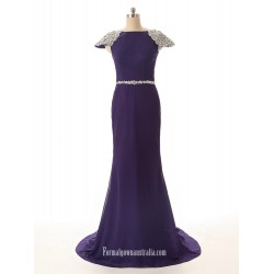 Boat Neck Crystal Short Cap Sleeve Prom Dresses Purple Chiffon Mermaid Formal Dress Prom Evening Dress