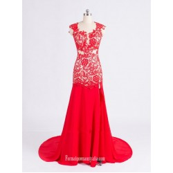 Elegant Red Mermaid Scoop Neck Sheer Lace Backless Long Prom Dress With Lace