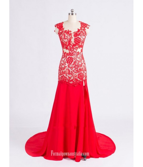 Elegant Red Mermaid Scoop Neck Sheer Lace Backless Long Prom Dress With Lace New Arrival