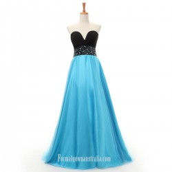 Elegant Floor Length Blue Sweetheart Beading Prom Dress Strapless Evening Dresses