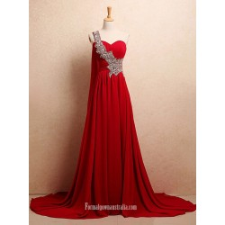 Simple Dress A Line Rhinestones One Shoulder Long Chiffon Red Prom Dresses Evening Dresses Wedding Reception Dresses