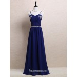 Royal Blue Evening Gowns Criss Cross Straps Beaded Chiffon Long Formal Dresses New Arrival