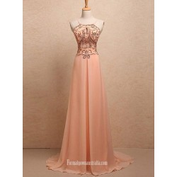 Simple Dress A-line Straps Key-hole Beading Long Chiffon Prom Dresses/Evening Dresses