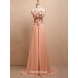 Simple Dress A Line Straps Key Hole Beading Long Chiffon Prom Dresses Evening Dresses