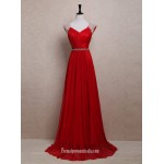 Elegant White Pearl Long Red Chiffon Prom Dresses/Wedding Reception Dresses/Evening Dresses New Arrival