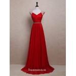 Elegant White Pearl Long Red Chiffon Prom Dresses/Wedding Reception Dresses/Evening Dresses New Arrival