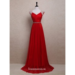 Elegant White Pearl Long Red Chiffon Prom Dresses/Wedding Reception Dresses/Evening Dresses