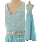 Hot A-line V-neck Long Chiffon Applique Sparkle Light Sky Blue Prom Dresses/Evening Dresses New Arrival