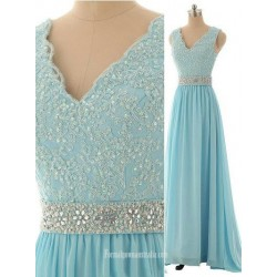 Hot A-line V-neck Long Chiffon Applique Sparkle Light Sky Blue Prom Dresses/Evening Dresses