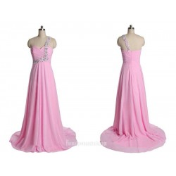 Simple Long Pink Zipper Back One Shoulder Evening Dress Formal Dress With Beading