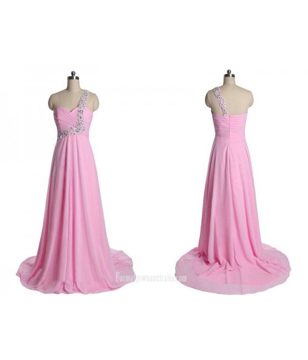 Simple Long Pink Zipper Back One Shoulder Evening Dress/Formal Dress With Beading New Arrival
