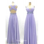 A-line Lavender Sweetheart Beading Empire Cross-back Long Chiffon Prom Dresses/Evening Dresses New Arrival