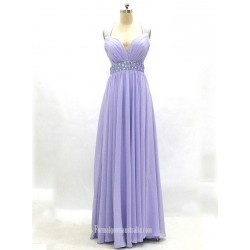 A-line Lavender Sweetheart Beading Empire Cross-back Long Chiffon Prom Dresses/Evening Dresses