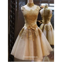 Newest Cocktail Dresses Yellow Sleeveless High Neck Waist Band Bow Mini Princess Party Dresses