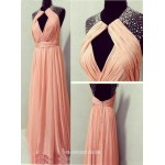 Hot Sexy Chiffon Beaded Front Opened Back Prom Dresses evening dresses New Arrival