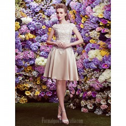 Australia Semi Formal Cocktail Dress Party Dress Champagne A-line Bateau Short Knee-length Lace Satin