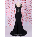 Mature Long Black Mermaid V-neck With Lace Formal Dress/Evening Dress New Arrival