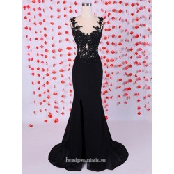 Mature Long Black Mermaid V-neck With Lace Formal Dress/Evening Dress