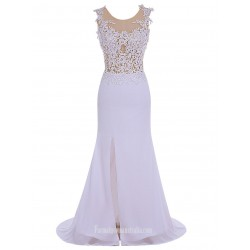 Elegant Long Slim With Lace Crew Neck Bridesmaid Dress/Party Dress