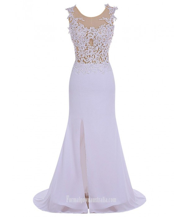 Elegant Long Slim With Lace Crew Neck Bridesmaid Dress/Party Dress New Arrival