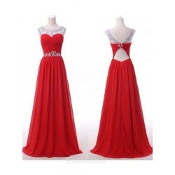 Long Chiffon Red Floor Length A-line Formal Dress With Beading