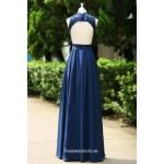 Navy Blue V Neck Keyhole Back Long Chiffon Bridesmaid Dress New Arrival