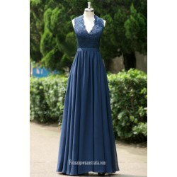 Navy Blue V Neck Keyhole Back Long Chiffon Bridesmaid Dress