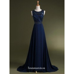 Chiffon Chapel Train Beading Dark Blue Evening Gowns