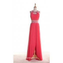 Sparkling Beaded Long Chiffon Prom Dress With Side Split