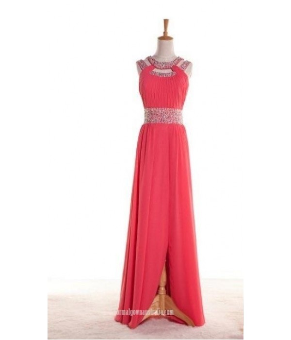 Sparkling Beaded Long Chiffon Prom Dress with Side Split New Arrival