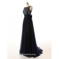 Simple Beading Scoop Open Back Ribbon Black Long Prom Dresses, Evening Dresses